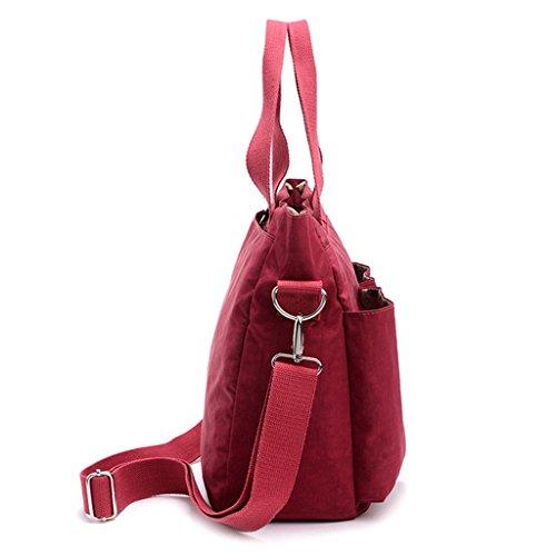 Tiny Chou wasserabweisend Nylon Tote Stil Handtasche Cross Body Tasche leicht Mama Tasche für Frauen Purplish red