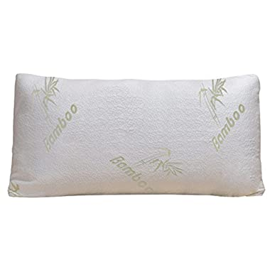 Bamboo Pillow - Shredded Memory Foam - Stay Cool Removable Cover With Zipper - Hotel Quality Hypoallergenic Pillow Relieves Snoring, Insomnia, Asthma, Neck Pain, TMJ, and Migraines (Queen)