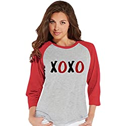 Custom Party Shop Women's XOXO Valentine's Day Raglan Shirt Medium Red