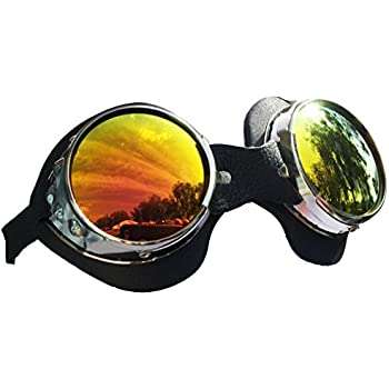 Amazon.com: Redonda Grande lente anteojos de moto ...