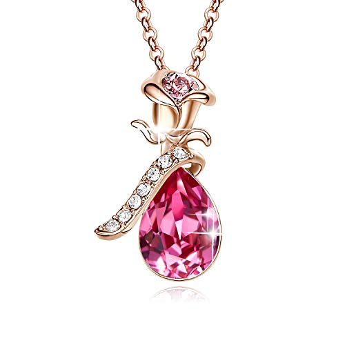 CDE Rose Teardrop Necklace for Women Swarovski Pink Crystal Pendant Necklaces Fashion Jewelry, 18K Rose Gold Plated