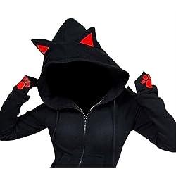 SYTX Womens Stylish Slim Cat Ear Zip Up Hooded Sweatshirt Jacket Coat Black L