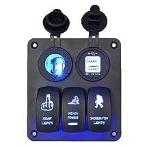 Kimloog Rocker Switch Panel Digital Voltmeter Cigarette Socket Duo USB Charger LED Waterproof Toggle Switch 5 Gang Black Blue LED 12V