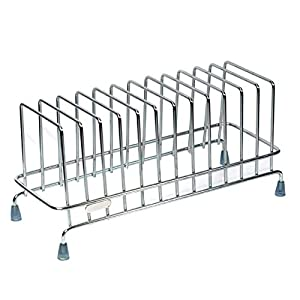 TULMAN Stainless Steel Plate Stand for Kitchen Dish Storage Rack Utensile Holder - 33x13x16 cm - 12 Plate Storage