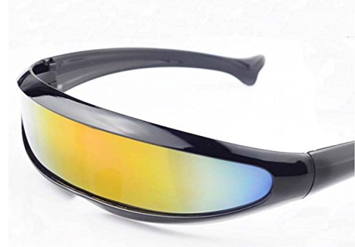 Futuristic Cyclops Shield Sunglasses For Cosplay Mirrored Lens Visor Narrow Cyclops Novelty Party Shield © ™