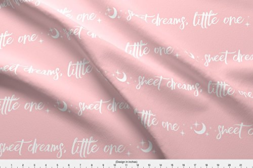 Spoonflower Baby Girl Fabric Sweet Dreams Little One, Moon And Stars - White On Pink - Nursery, Baby Girl by Sugarpinedesign Printed on Basic Cotton Ultra Fabric by the - Fabrics Nursery