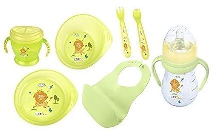 6 Set : bebé Recipiente de pulpa + Plato para aprender a comer + Cubertería infantil