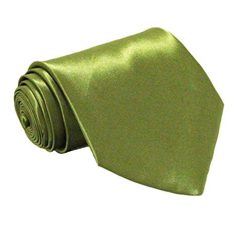 Soophen NEW Mens Necktie SOLID Satin Neck Tie Olive - New Mens Satin