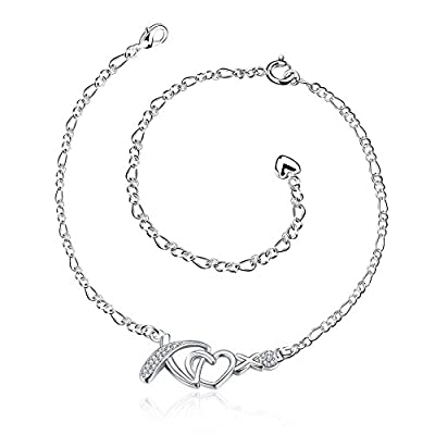 New Xiaodou Zircon Double Heart Charm Adjustable Chain Silver Plated Foot Anklet Chain Bracelet for Women for sale