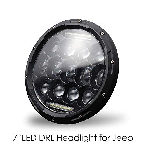 (QBEASY 7'' LED Projector Car Headlights 300W DRL Sealed Lamps High & Low Beam Round White Headlamps, H4/H13 Plug and)