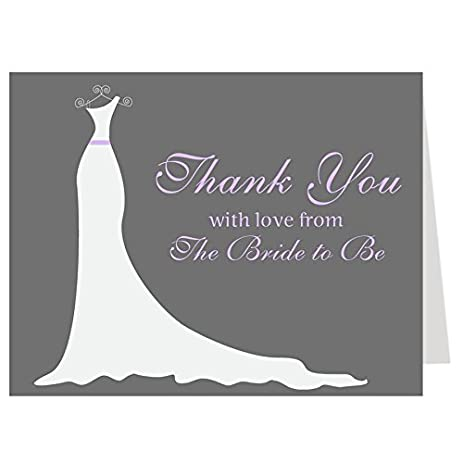 bridal shower thank you cards wedding dress wedding shower purple lavender