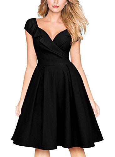 Bishop Style Dress - MissMay Women's Vintage Large Lapel Contrast Bishop Sleeve A-Line Big Swing Dress Black Large