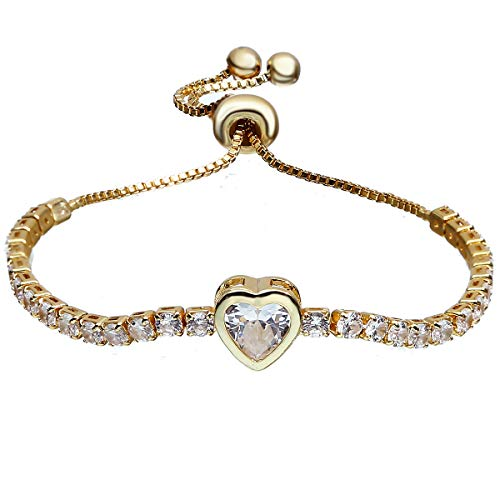 ASHMITA Charm Heart Bracelets for Women Girls Cubic Zirconia Gold Adjustable Chain - Heart Gold Link Fine