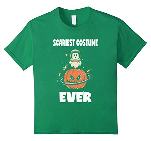 Kids Scariest Costume Ever Pumpkin Halloween Ghost Space T-Shirt 10 Kelly (Space Ghost Halloween Costume)