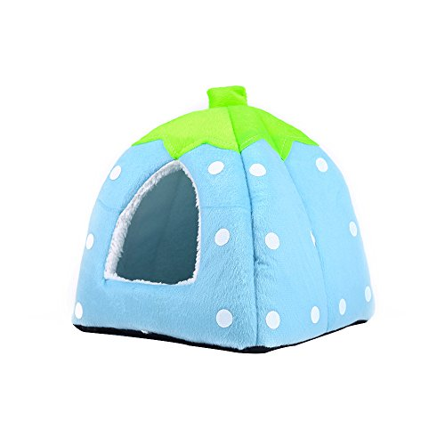 Echo Paths Soft Sponge Strawberry Tent Bed for Pets Dog Cat Pet Bed House with Warm Plush Pad Blue - Fleece Plush Choosing Cat
