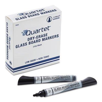 Quartet Premium Glass Board Dry Erase Marker, Bullet Tip, Black