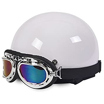 Amazon.es: Rainbow_Road Casco de motocicleta abierto casco Halley casco Crash para moto scooter bicicleta con visera + gafas + bufanda (54 - 59 cm) blanco ...