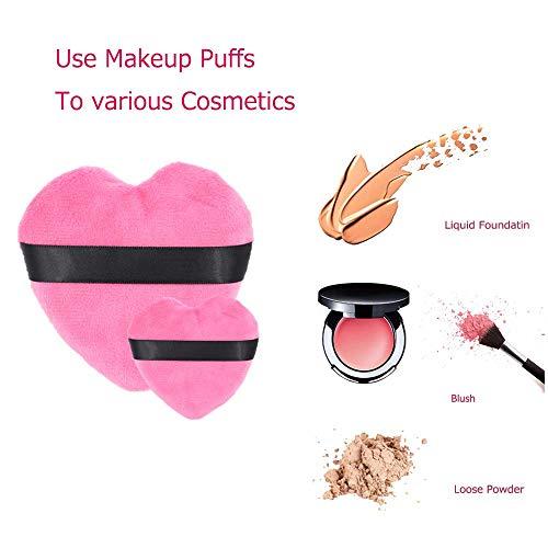 Makeup Blendiful Puffs,Large Face Powder Puffs Cotton Velour Love Shape with Strap,Makeup Tool Beauty Sponges Blender 2 Pcs …