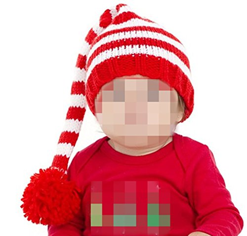 Red Hats Crochet Hat (Kafeimali Baby Christmas Elf Long Tail Crochet Beanie Knit Hat Stocking Caps (Red))