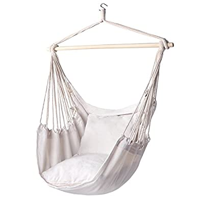 "Y- STOP Hammock Chair Hanging Rope Swing - Max 320 Lbs - 2 Seat Cushions Included - Quality Cotton Weave for Superior Comfort & Durability - Comfortable Enjoyment: This fashionable hammock chair is Comfortable and durable. It will not lose cotton thread, so that the user can enjoy the Comfortable feeling of the soft sponge, and It is enough big, not like other small size of the hanging chair, you can only sit up, This can let you lie down and enjoy fully relax, this is something that no other chair can do. Quality Assurance: soft, sturdy hammock chair is made of soft polyester/cotton, to ensure that they do not is torn or damaged, the use of traditional hanging chair is impossible to penetrate, so that it is a very good rest place for children or pets, and No smell, very comfortable hammock chair. Features:Anytime, anywhere can easily move - in addition to the balcony, terrace, backyard outside more, reading books, magazines or tablet at the same time to hang out and snuggling in comfortable ""cocoon"" - listen to the rain, crickets, birds, or enjoy a quiet night that watch - patio-furniture, patio, hammocks - 41Tizb6wvgL. SS400  -"