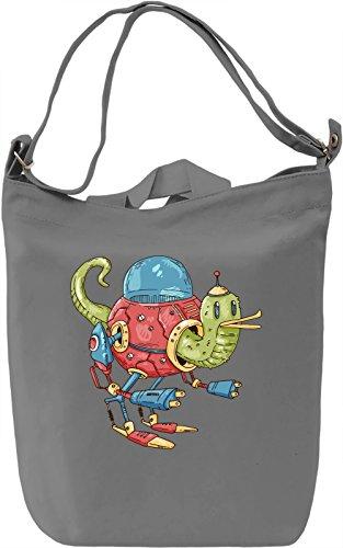Robot slug Borsa Giornaliera Canvas Canvas Day Bag| 100% Premium Cotton Canvas| DTG Printing|