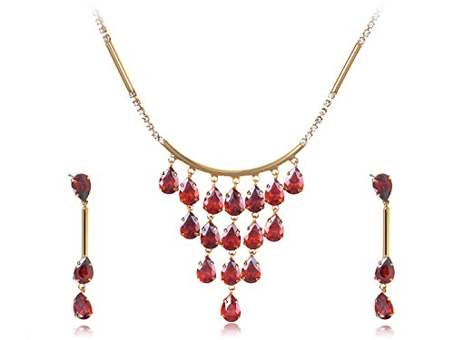 Alilang Synthetic Ruby Red Dangling Ripe Apples on Golden Toned Chain Necklace and Drop Earring Set