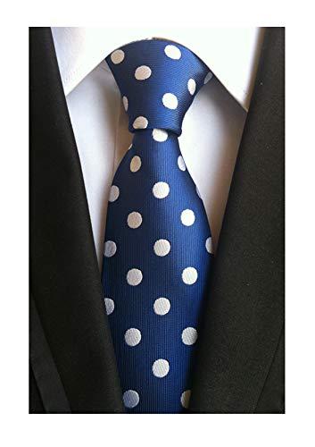 (Men's Midnight Blue White Dot 100% Silk Self Cravat Ties Designer Necktie Online)