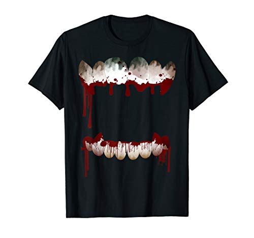 Scary Horror Graphic Mouth Bloody Teeth Halloween T -