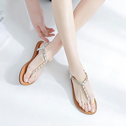 Sandals Silver Shoes Sandals Flip Flat White Ankle Rhinestone Women's Heel Fashion Toe Flops Casual Low Clip AO61qrABn