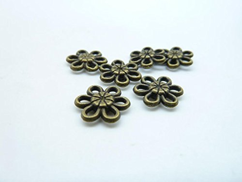 Flower Disc Charm (50pcs 11mm Antique Bronze Lovely Mini Flower Spacer Bead Pendant Charms C4024)