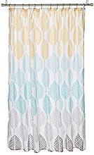 Central Park Design Modern Shower Curtain, Botanical Casual Shower Curtains for Bathroom, 72 X 72, Yellow/Aqua