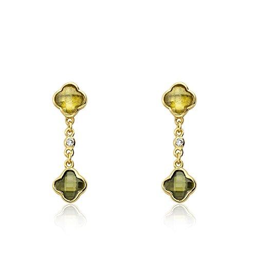 Riccova Arctic Mist 14k Gold-Plated Lime Briolet Clover Chain Olive Briolet Clover Earring