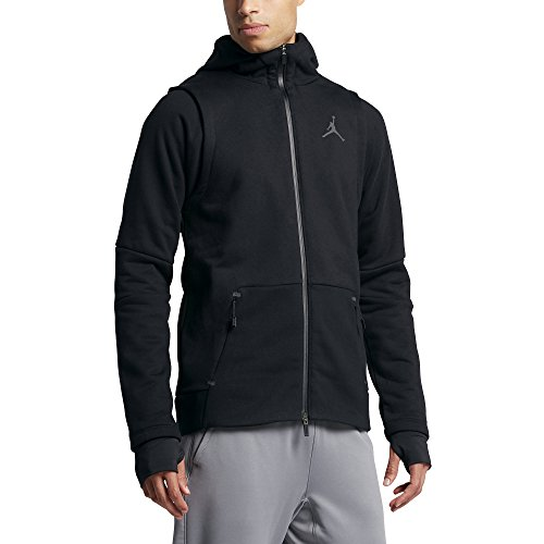 Jordan JORDAN SHIELD FZ HOODIE mens novelty-hoodies 809486-010_M - BLACK/WHITE by Jordan