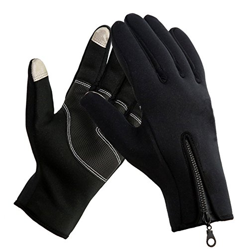 AV SUPPLY Touchscreen Cycling Gloves Winter Cold Weather Motorcycle Driving Gloves Full Finger Windproof Waterproof Black, M