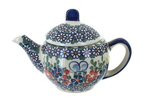 - OKSLO Polish pottery garden butterfly individual teapot