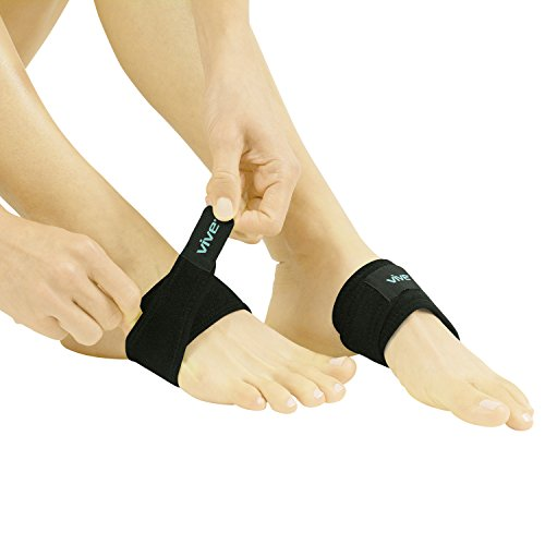 Arch Support Brace by Vive - Plantar Fasciitis Strap for Foot Pain, High Arches & Flat Feet - Compression Wrap - Insert for Under Socks & Shoes - Relieves Aches & Pains (Pair)