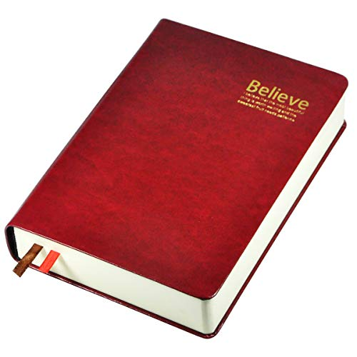 Littfun Leather Journals Thick Writing Notebook Soft Cover Journal 360 Sheets Lined Diary for Men Women (Dark red Lined -