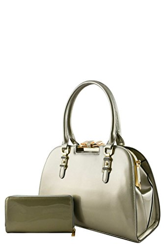 womens-designer-faux-leather-2-in-1-stylish-patent-doctor-bag-set-va2020-silver