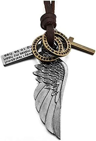 Collar con Colgante de Piel de aleaci/ón para Hombre mi ji Naivo con alas de /ángel de Cruz de Oro Plateado y Cadena Ajustable de 40,6 a 66 cm