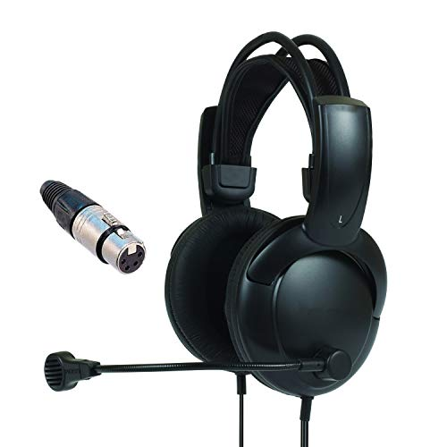 - Double Muff Intercom Headphones with Female XLR Four pin Connector Clearcom