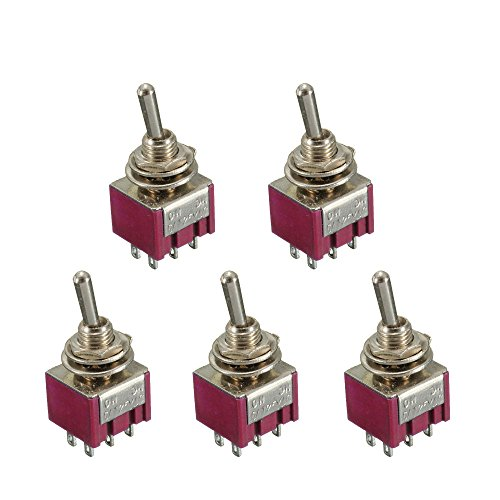 ESUPPORT 5 x On/Off/On Momentary Mini Miniature Toggle Switch Car Dash Dashboard DPDT 6Pin (Dpdt Miniature)