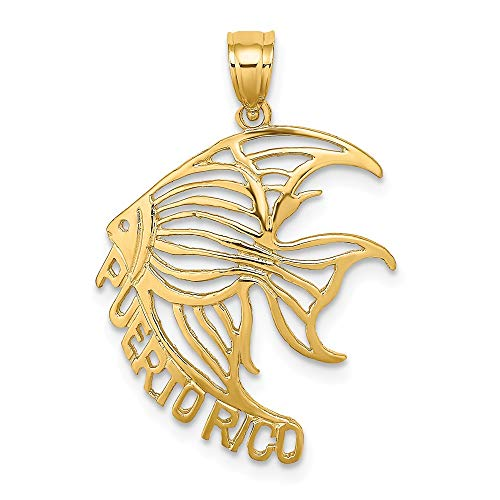 14k Yellow Gold Cut Out Puerto Rico Under Angelfish Pendant Charm Necklace Animal Travel Transportation Sea Life Fish Angel Fine Jewelry Gifts For Women For Her