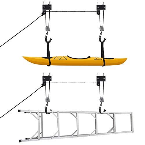 Goplus Bike Lift Hoist Heavy Duty Hoist for Garage Storage 100lb Capacity, Lift Height up to 10ft for Kayak, Canoe, Bike, and Ladder