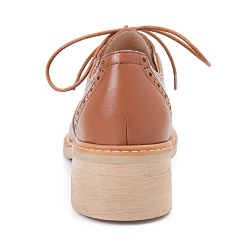 Casual De Mujer Zapatos Marrón Ancho Brogue Tacon Oxford Annieshoe Cordones Elegantes aqpIgE
