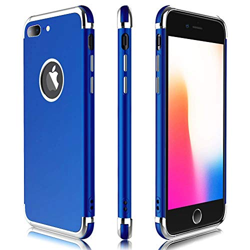 iPhone 8 Plus Case / 7 Plus Case, Meifigno 3 in 1 Hybrid Stylish Case,[Compatible with Wireless Charging], Urtal Silm Soft TPU & Hard PC Frames, for Apple iPhone 5.5 8P (2017)/ 7P (2016)- Navy Blue