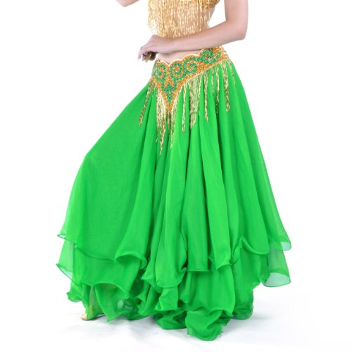 Green Belly Dance Costume - BellyLady Belly Dance Skirt Halloween Tribal Chiffon Tiered Maxi Full Skirt GREEN