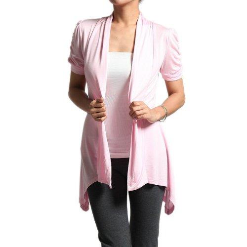 Hollywood Star Fashion Rayon Short Sleeves Flyaway Cardigan Shawl Collar Shrug Cardi Plus Size