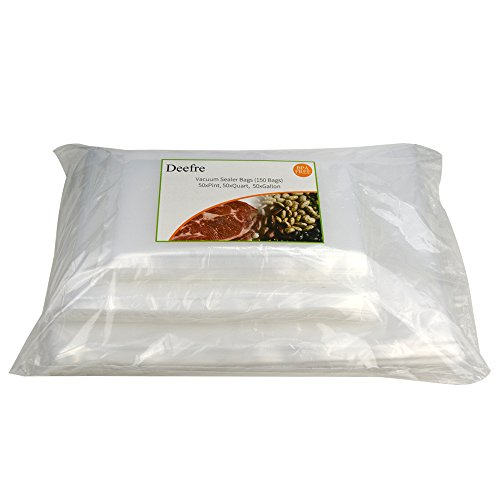 Vacuum Sealer Bags Sous Vide Bags Vacuum Packaging Pouches – Deefre 4 mil Thickness Commercial Grade Food Sealer Bags for FoodSaver BPA Free Fit All Sealers (150 Bags – 50 Each of Quart, Gallon, Pint)