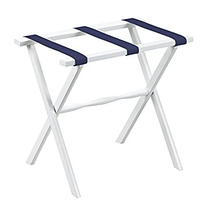 Perfect Fine Folding Furniture Gate House Furniture White Wood Folding Luggage Rack  With Straight Legs And Navy