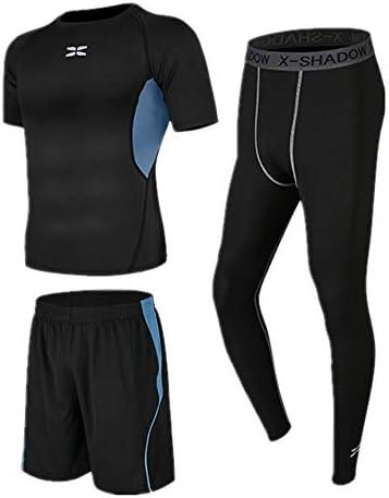 レディースジャージ上下セット 半袖ランニングショーツと1セットに3つの圧縮レギンスメンズベースレイヤースーツ 吸汗 速乾 (Color : Black, Size : XXXL)